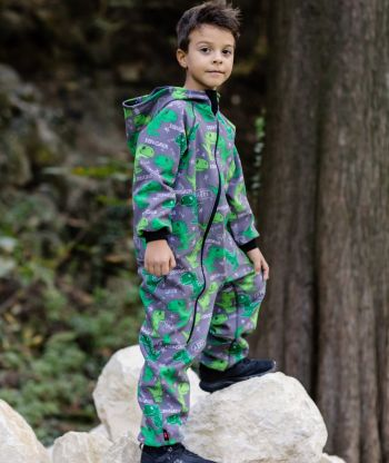 Waterproof Softshell Overall Comfy Dino Grey Jumpsuit