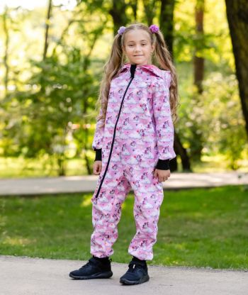 Waterproof Softshell Overall Comfy Unicorns Pink Jumpsuit