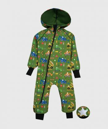 Waterproof Softshell Overall Comfy Vehicles Green Jumpsuit