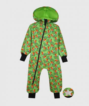 Waterproof Sofshell Overall Comfy Parrots Drawings Jumpsuit
