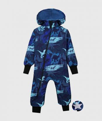 Waterproof Softshell Overall Comfy Dino Shadows Blue Jumpsuit