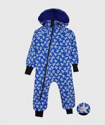 Waterproof Softshell Overall Comfy Skulls Blue Jumpsuit